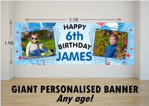 Personalised GIANT Large Blue Boys Happy Birthday PHOTO Poster Banner N38 ANY AGE